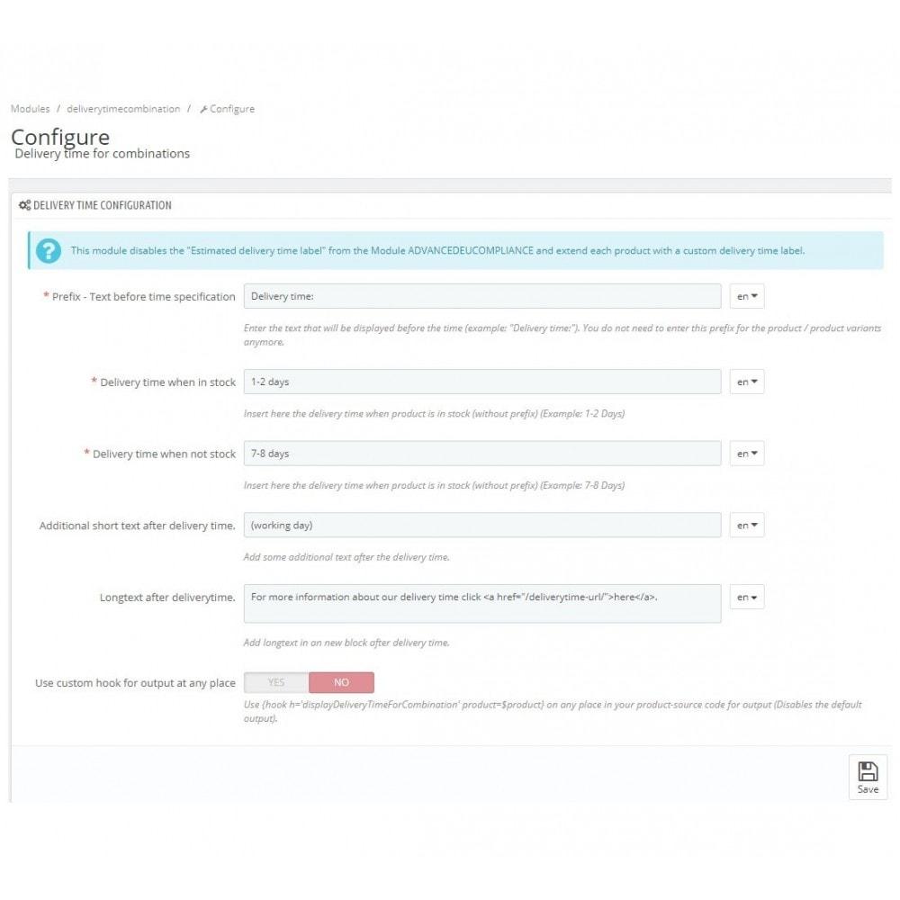 module - Versies & Personalisering van producten - Delivery time for combinations - 2