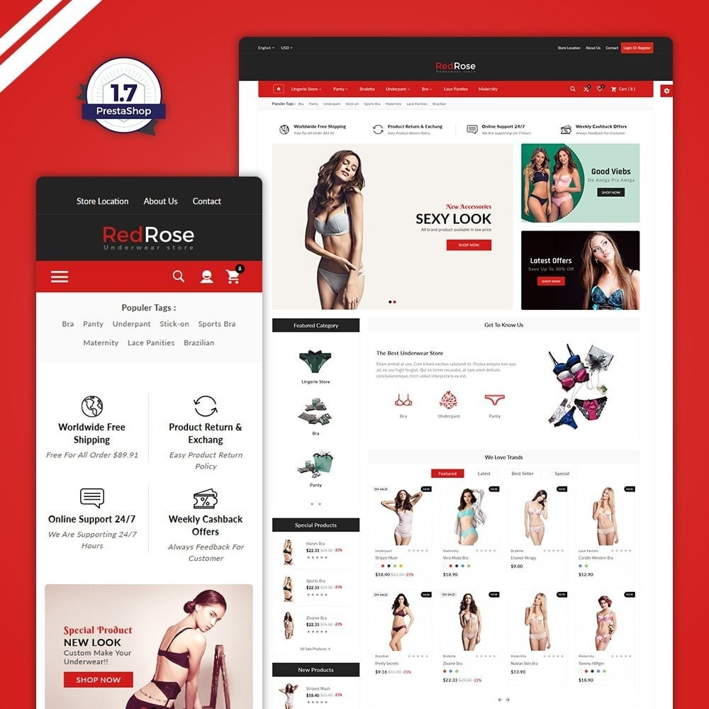 theme - Lingerie & Adult - Red Rose –The Lingerie Store - 1