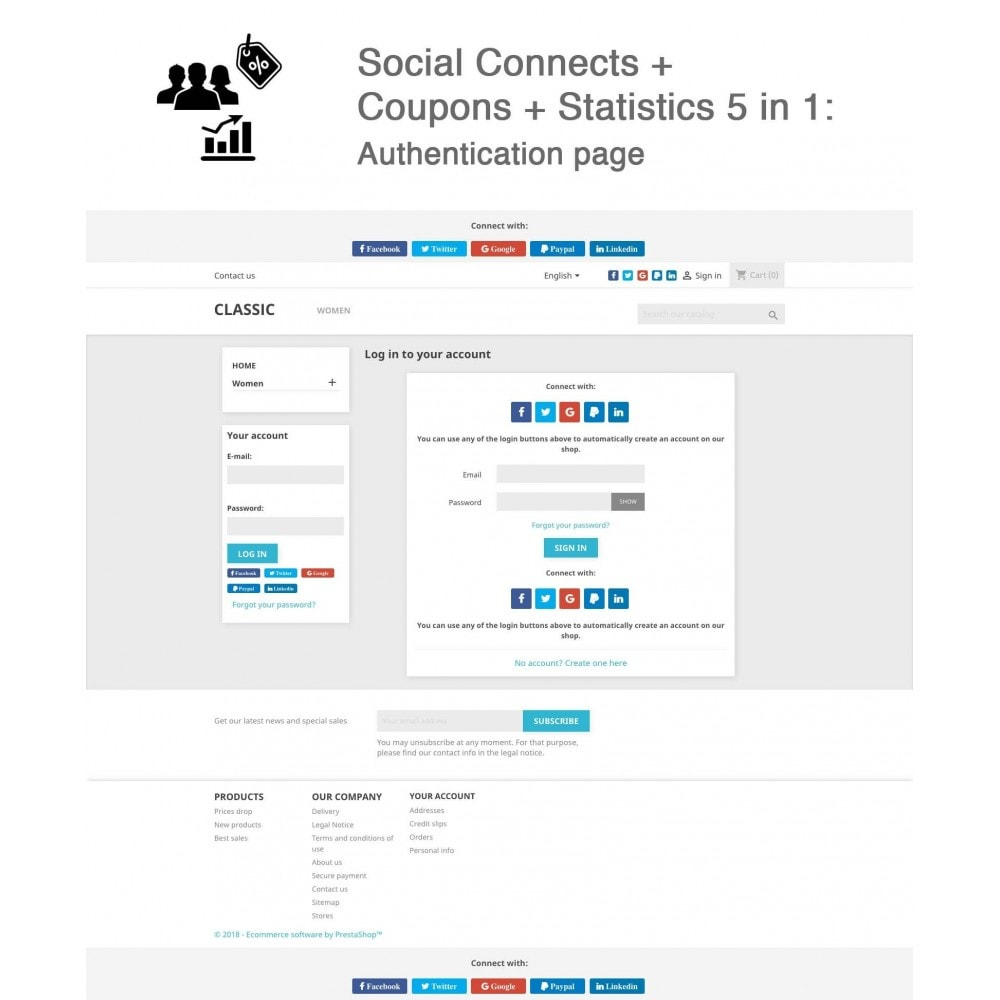 module - Inloggen - Social Connects + Coupons + Statistics 5 in 1 - 1