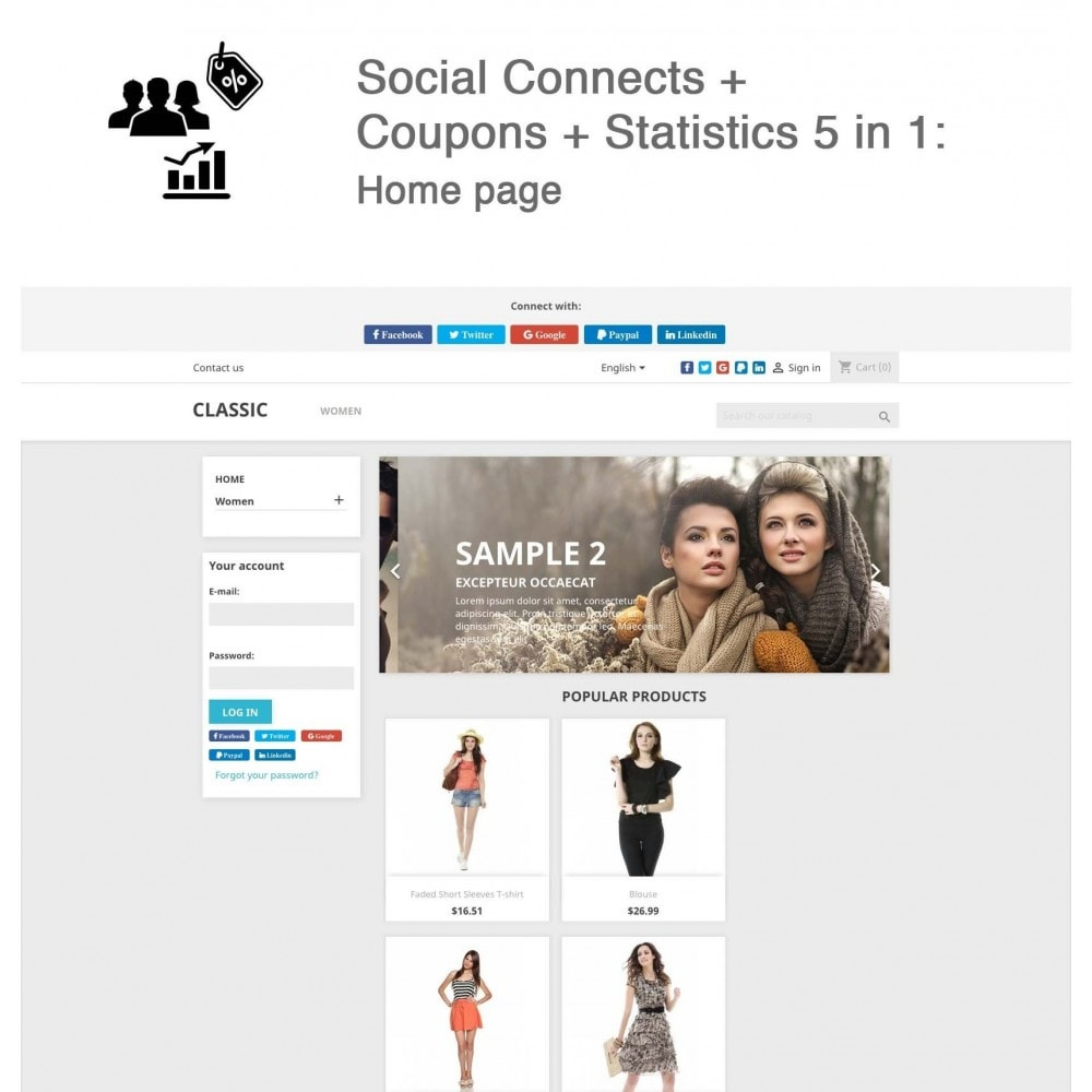 module - Inloggen - Social Connects + Coupons + Statistics 5 in 1 - 2