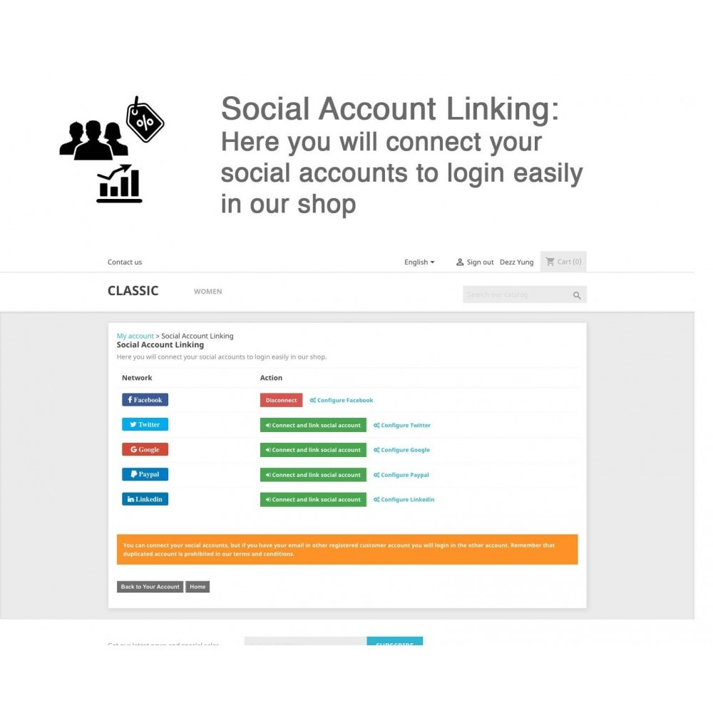 module - Inloggen - Social Connects + Coupons + Statistics 5 in 1 - 8