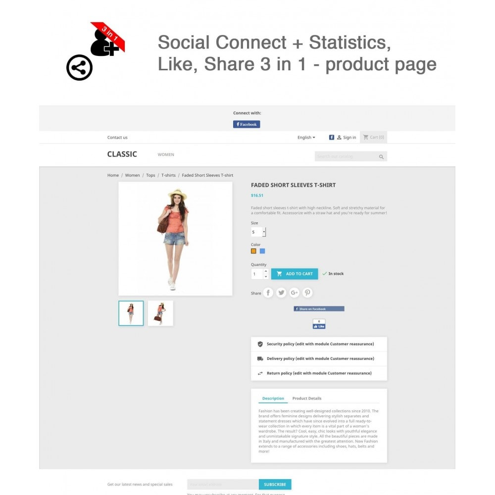 module - Boutons Login & Connect - Social Connect + Statistiques, J'aime, Partager 3 en 1 - 1