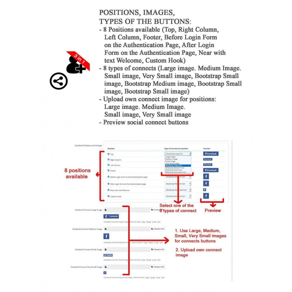 module - Boutons Login & Connect - Social Connect + Statistiques, J'aime, Partager 3 en 1 - 8
