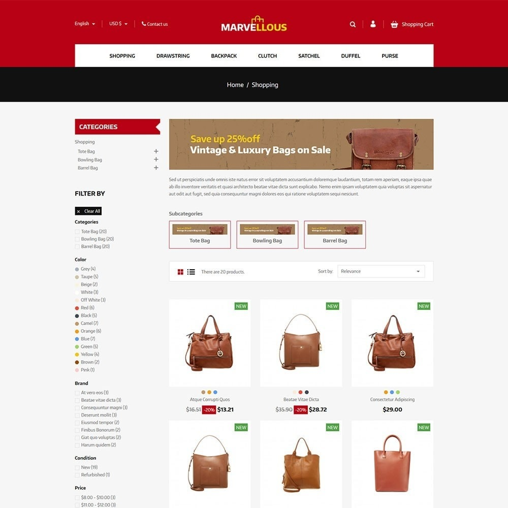 theme - Jewelry & Accessories - Marvellous - Bag Online Store - 3