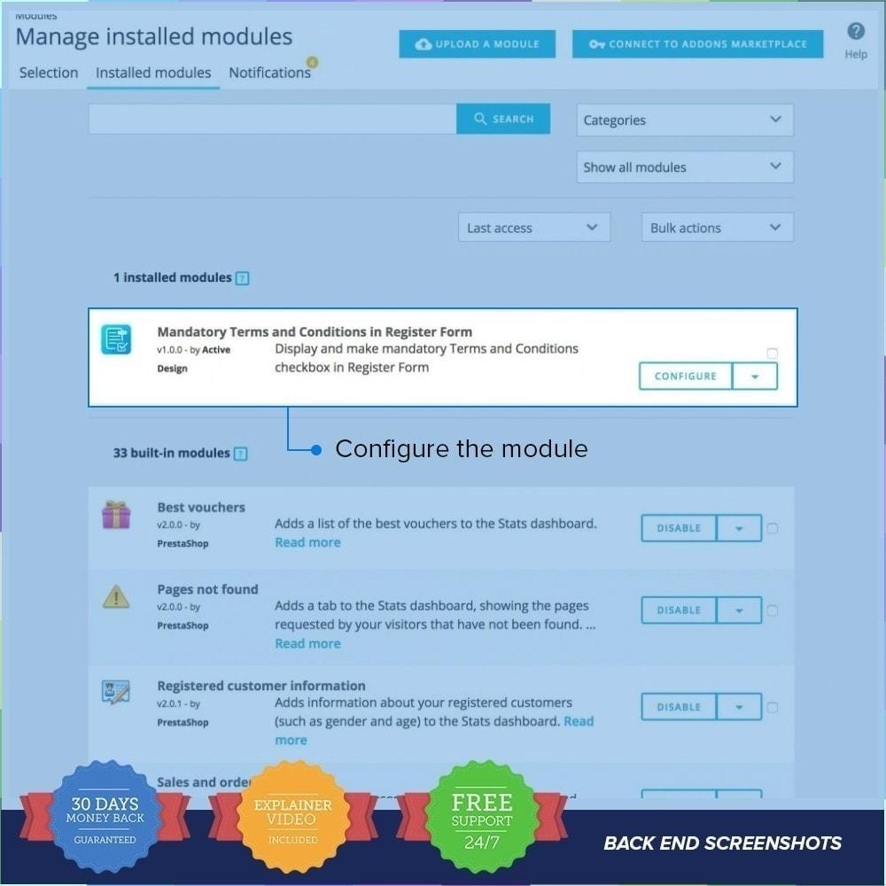 module - Iscrizione e Processo di ordinazione - Termini e Condizioni obbligatori - 1