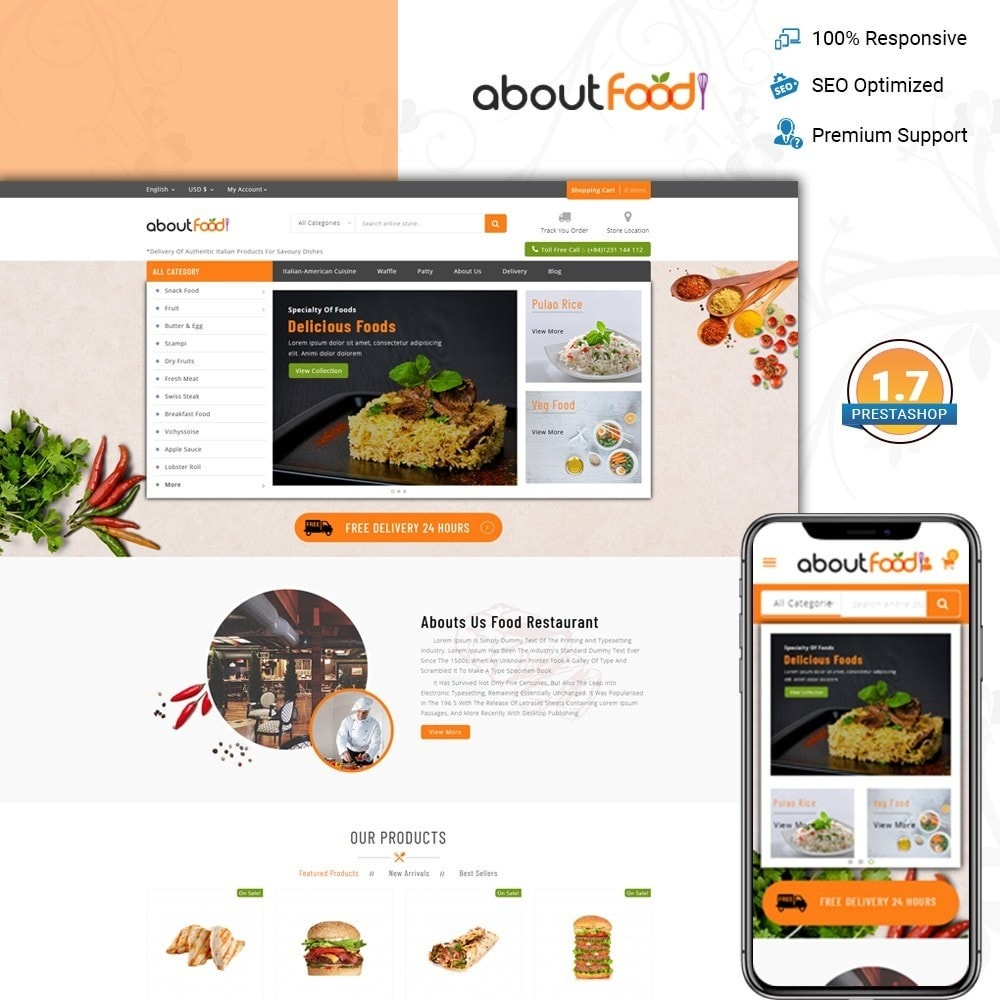 theme - Food & Restaurant - AboutFood - Food Store - 1