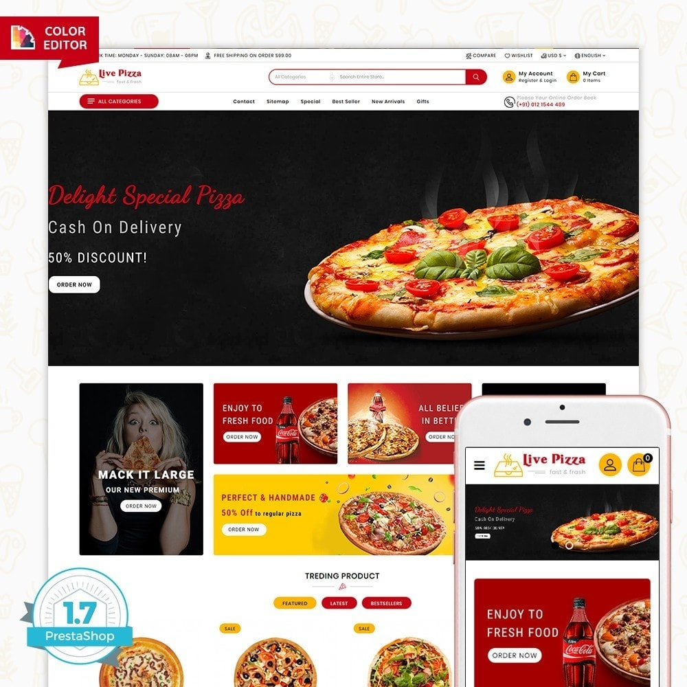 theme - Food & Restaurant - Live Pizza - Fast And Fresh - 1