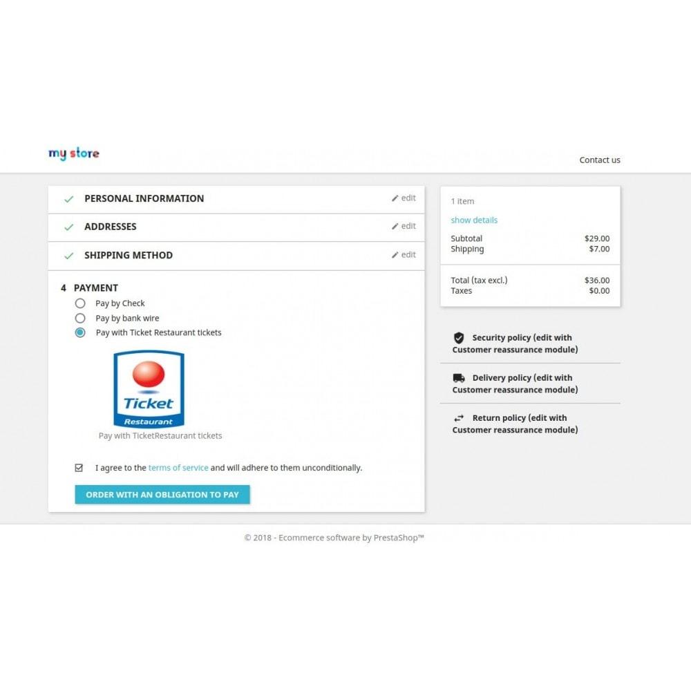 module - Inne środki płatności - Ticket Restaurant or Chèque Déjeuner payment gateway - 1