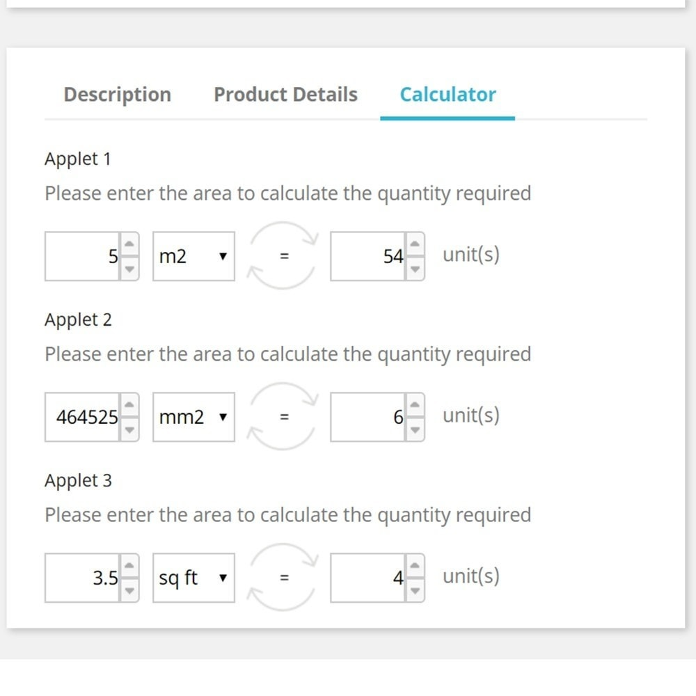 module - Tailles & Dimensions - Area to Quantity Conversion Calculator on Product Tabs - 2