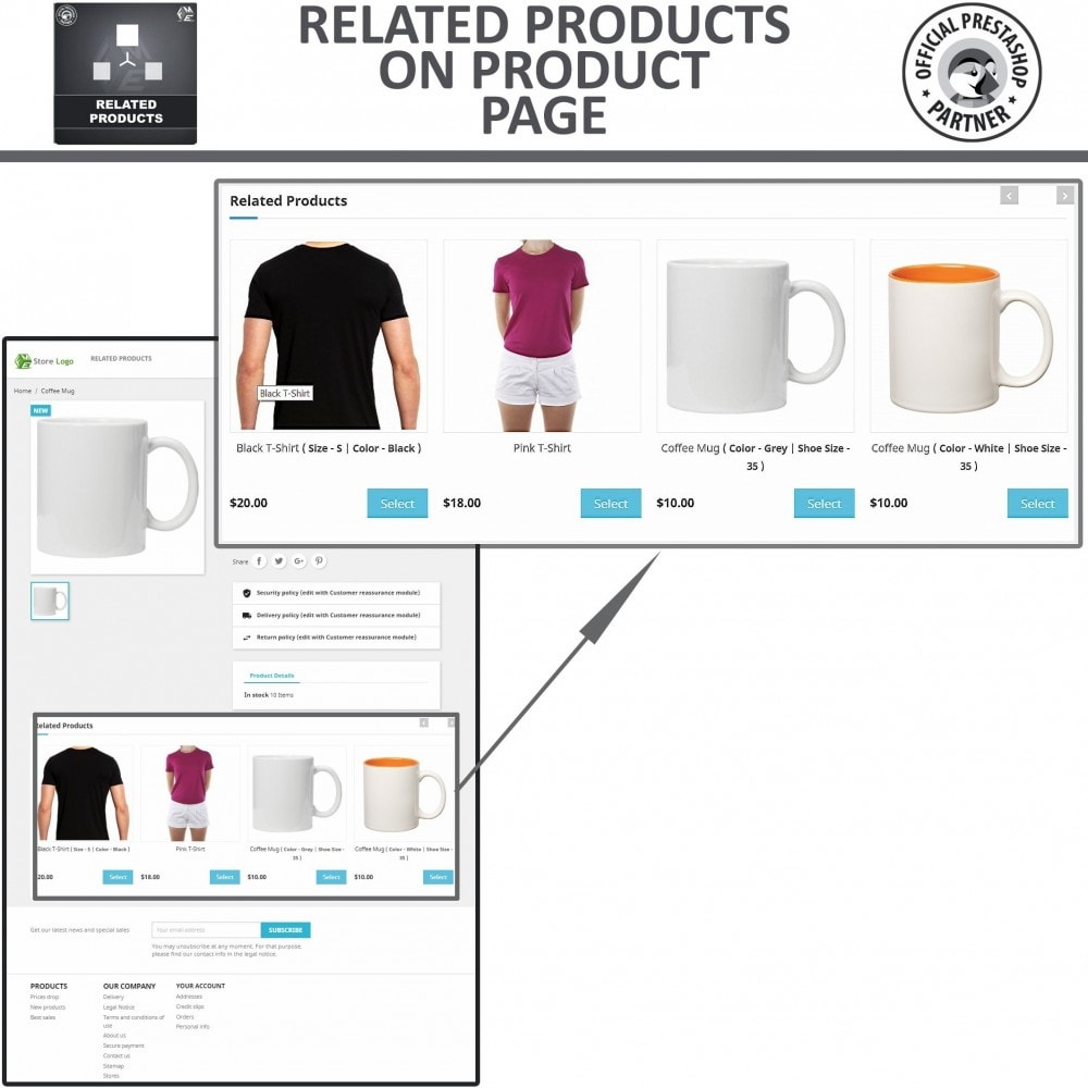 module - Vendas cruzadas & Pacotes de produtos - Related Products: Advance Related Products - 3