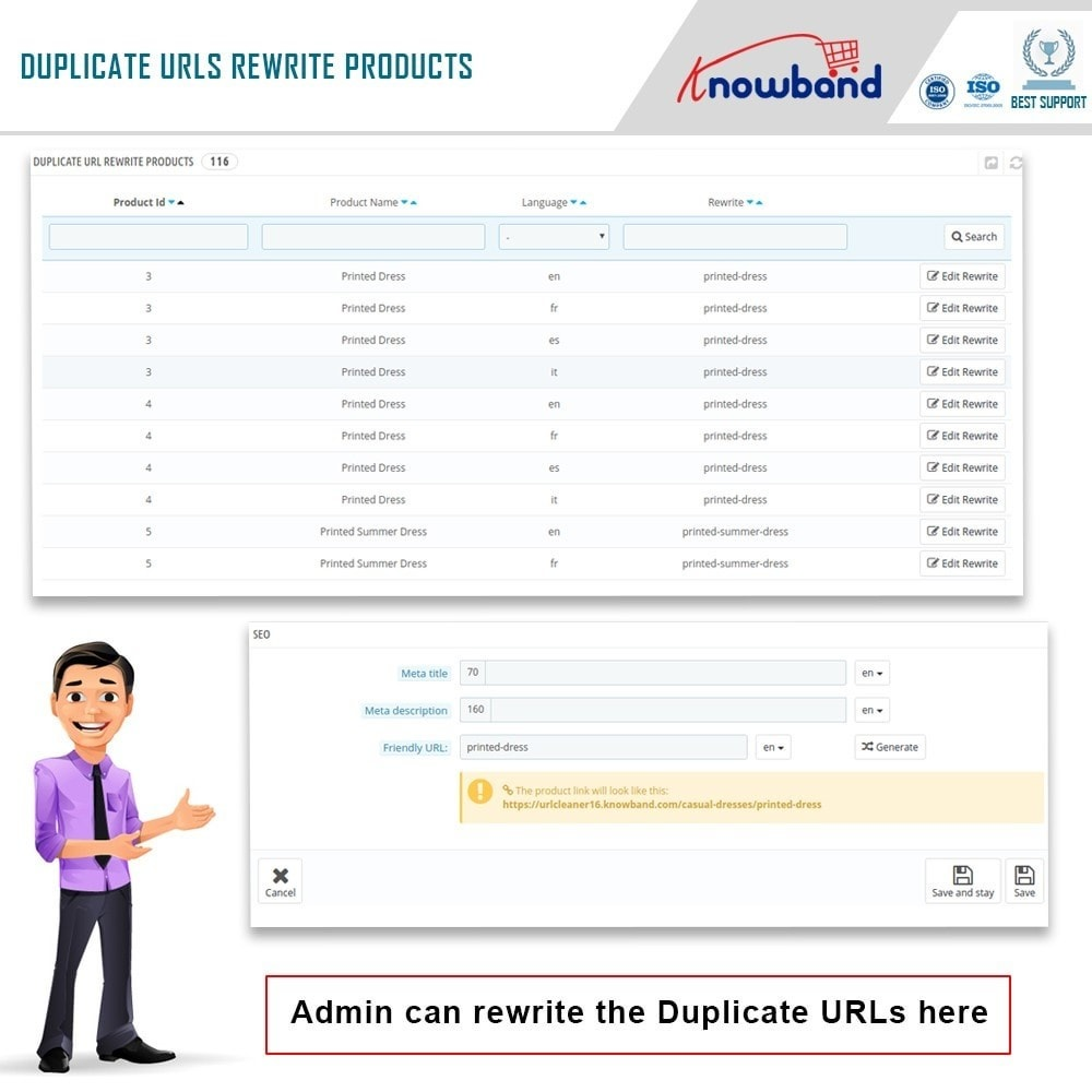 module - URL & Przekierowania - Knowband - SEO Pro - Clean URLs & 301/302/303 Redirects - 4