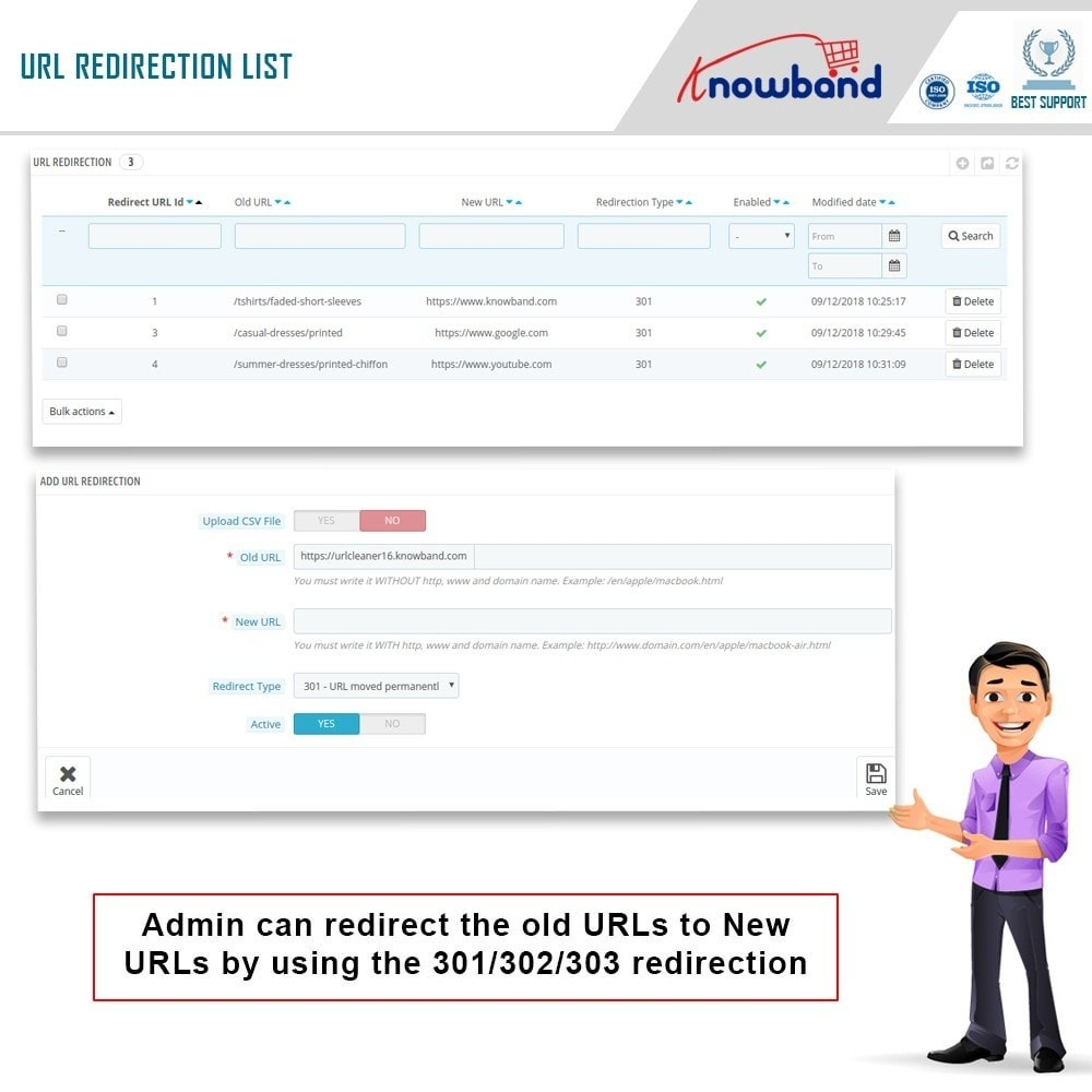 module - URL & Przekierowania - Knowband - SEO Pro - Clean URLs & 301/302/303 Redirects - 5