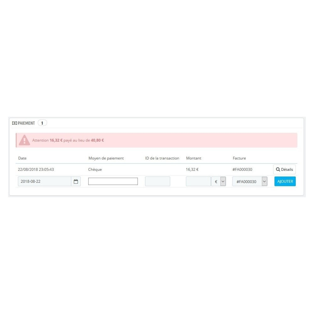 module - Autres moyens de paiement - Module d'acompte avec facture d'acompte - 5