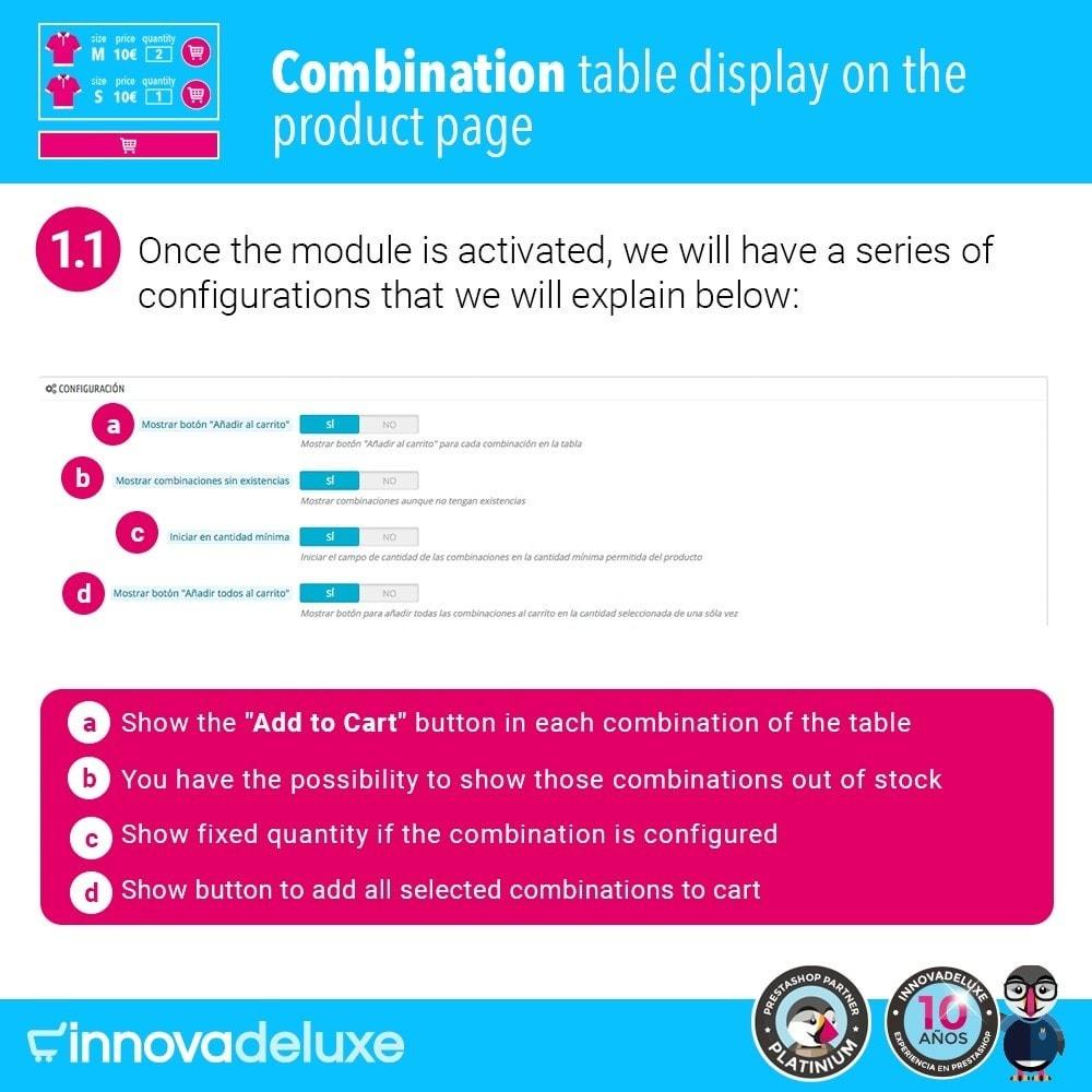 module - Deklinacje & Personalizacja produktów - Product data sheet with combination table - 2