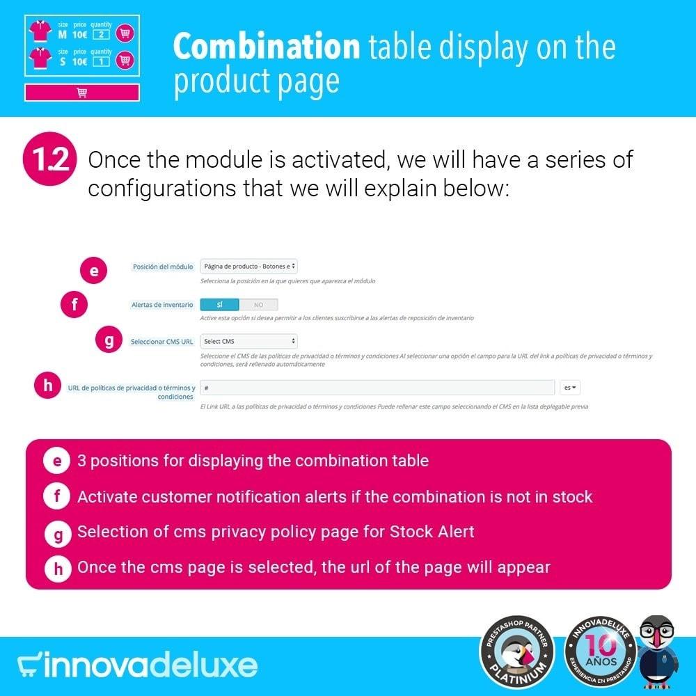 module - Deklinacje & Personalizacja produktów - Product data sheet with combination table - 3