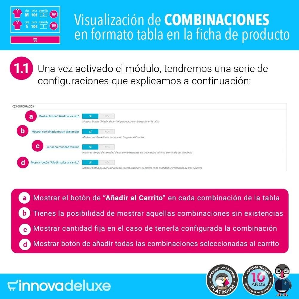 module - Combinaciones y Personalización de productos - Tabla de combinaciones en ficha de productos - 2