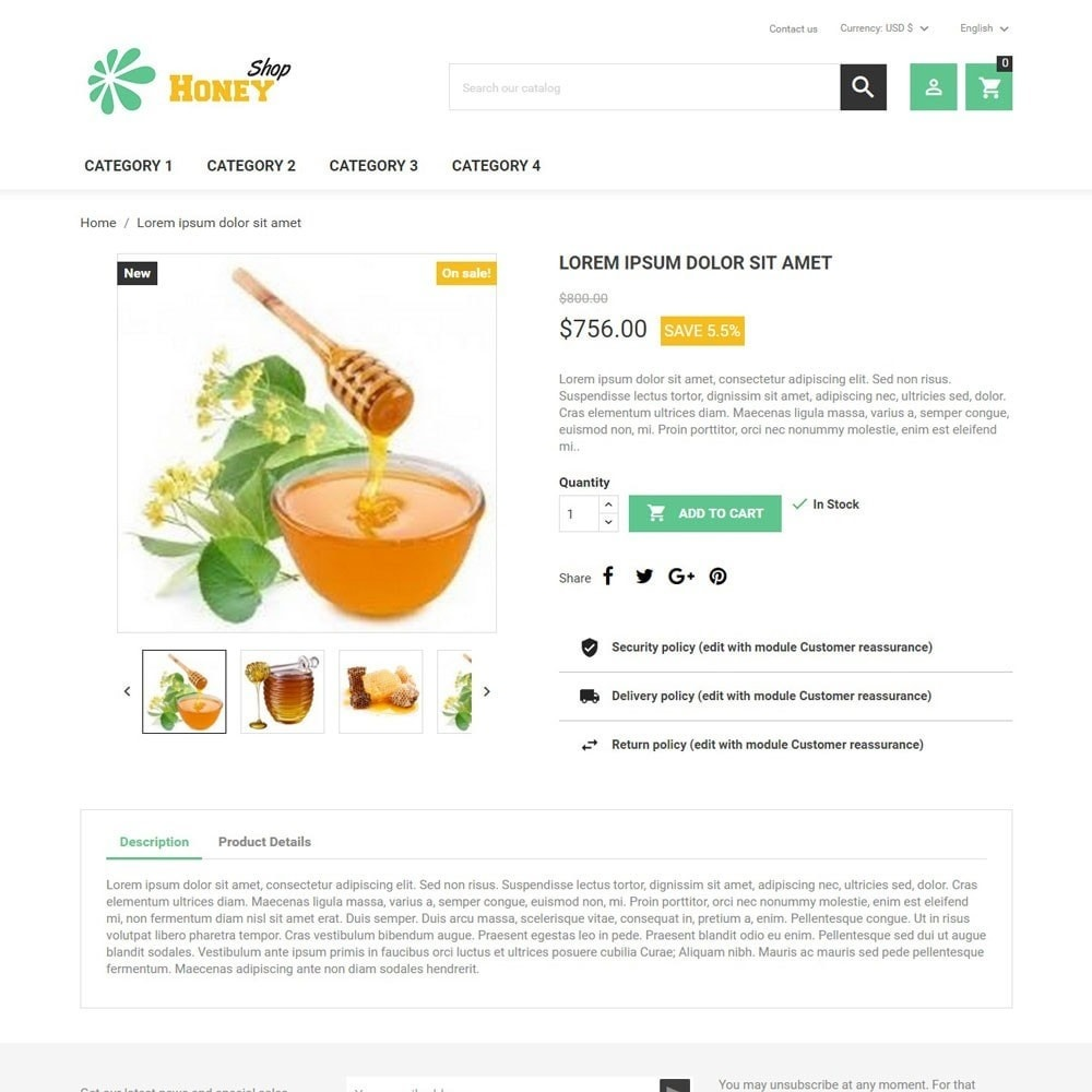 theme - Food & Restaurant - HoneyShop - 4