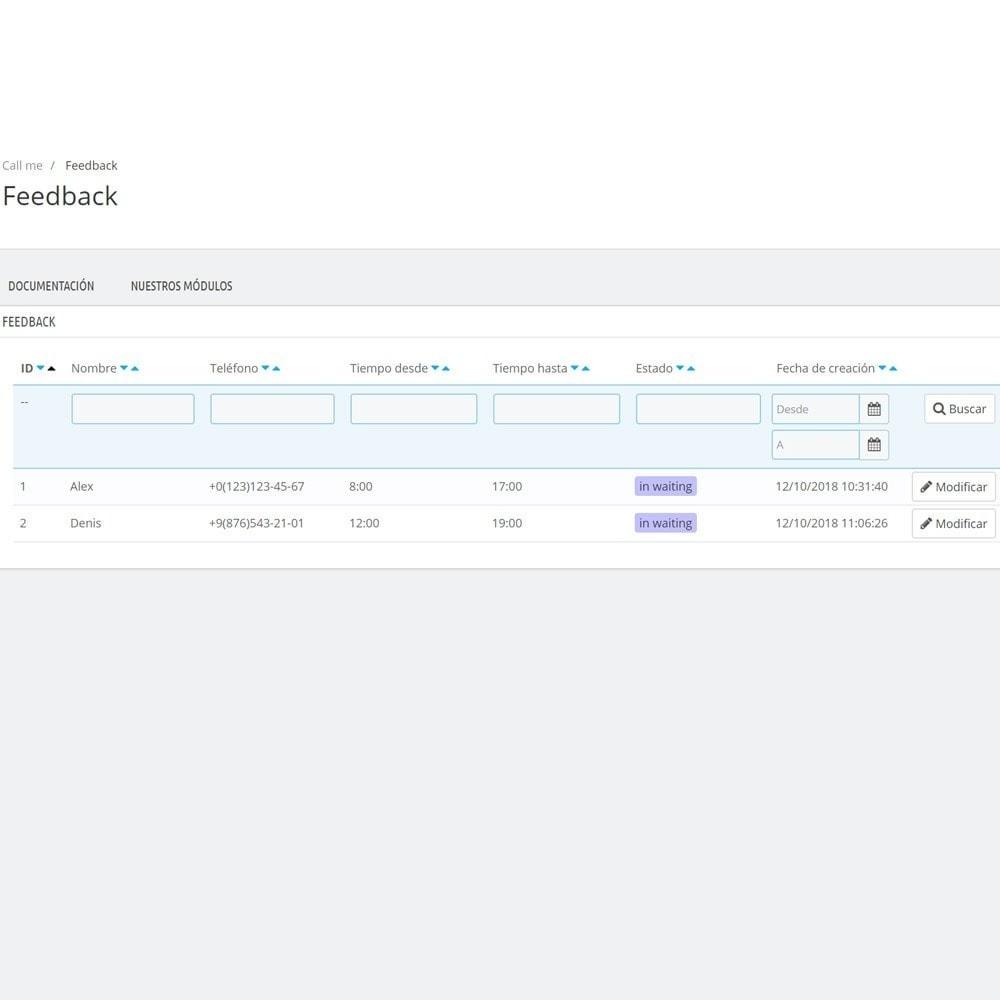 module - Asistencia & Chat online - Llámame - Módulo de devolución de llamada - 6
