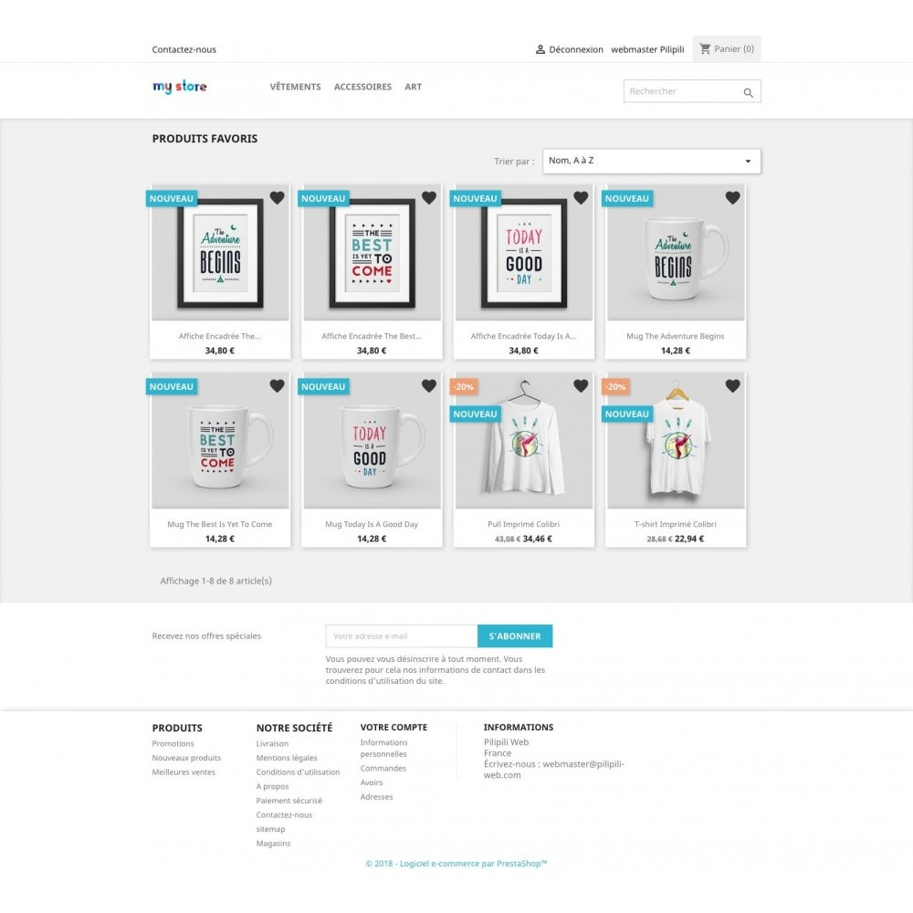 module - Informação Adicional & Aba de Produto - List of your favorite products / wishlist - 6
