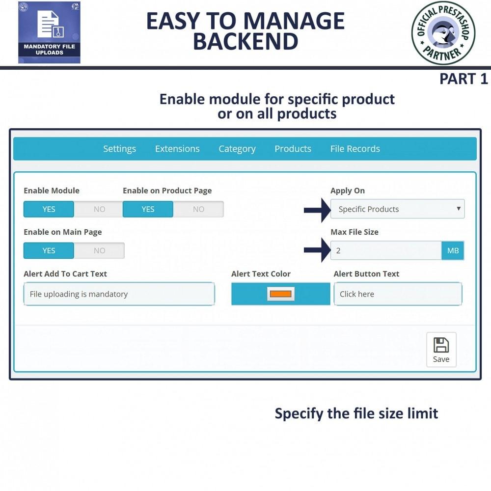 module - Informação Adicional & Aba de Produto - Mandatory File Upload - 5