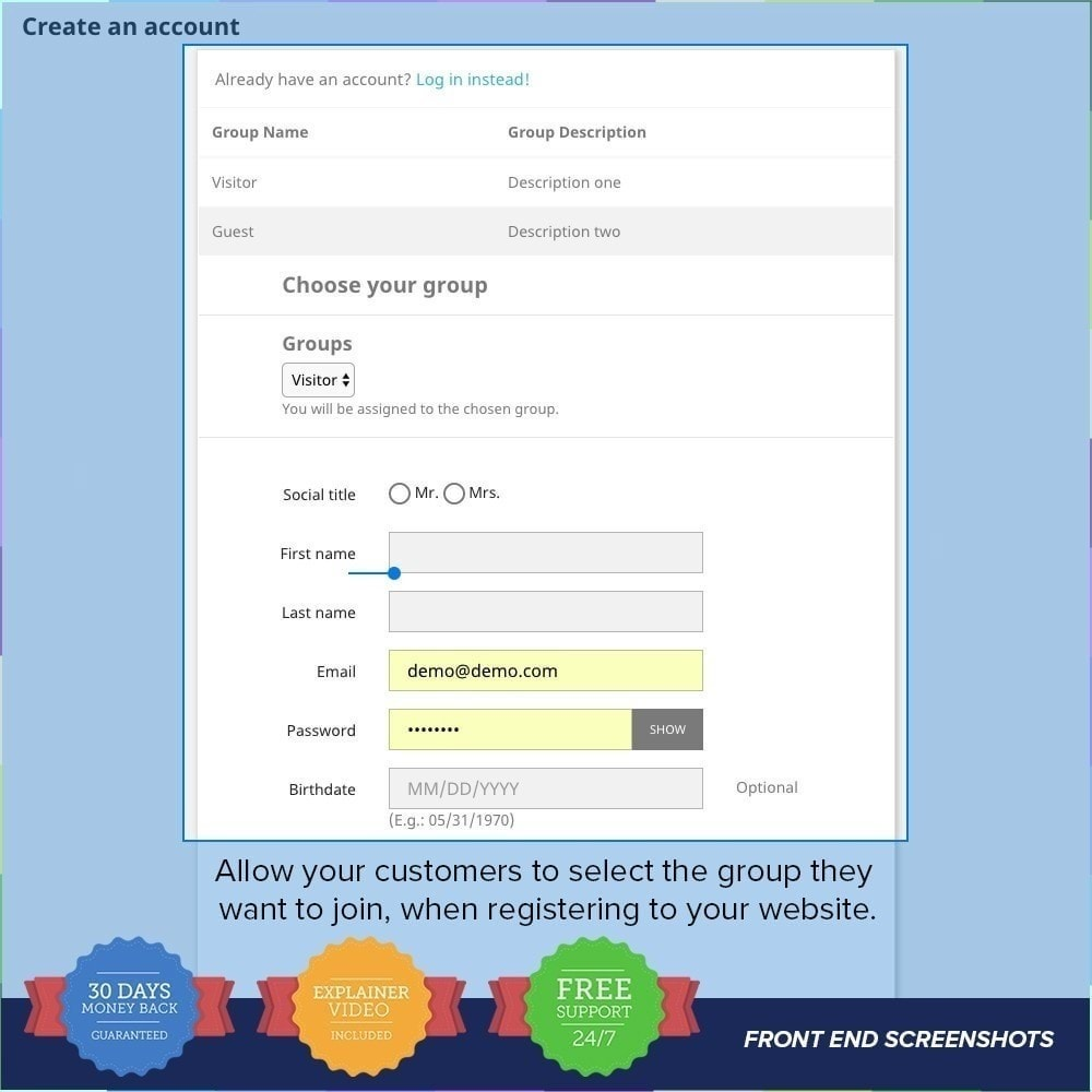 module - Inscription & Processus de commande - Enregistrement de groupes de clients PRO - 2
