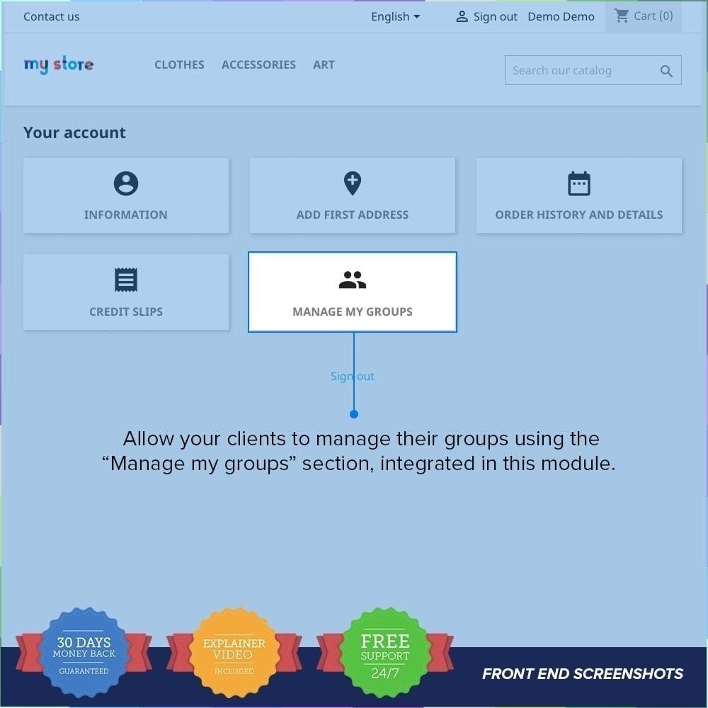 module - Inscription & Processus de commande - Enregistrement de groupes de clients PRO - 4