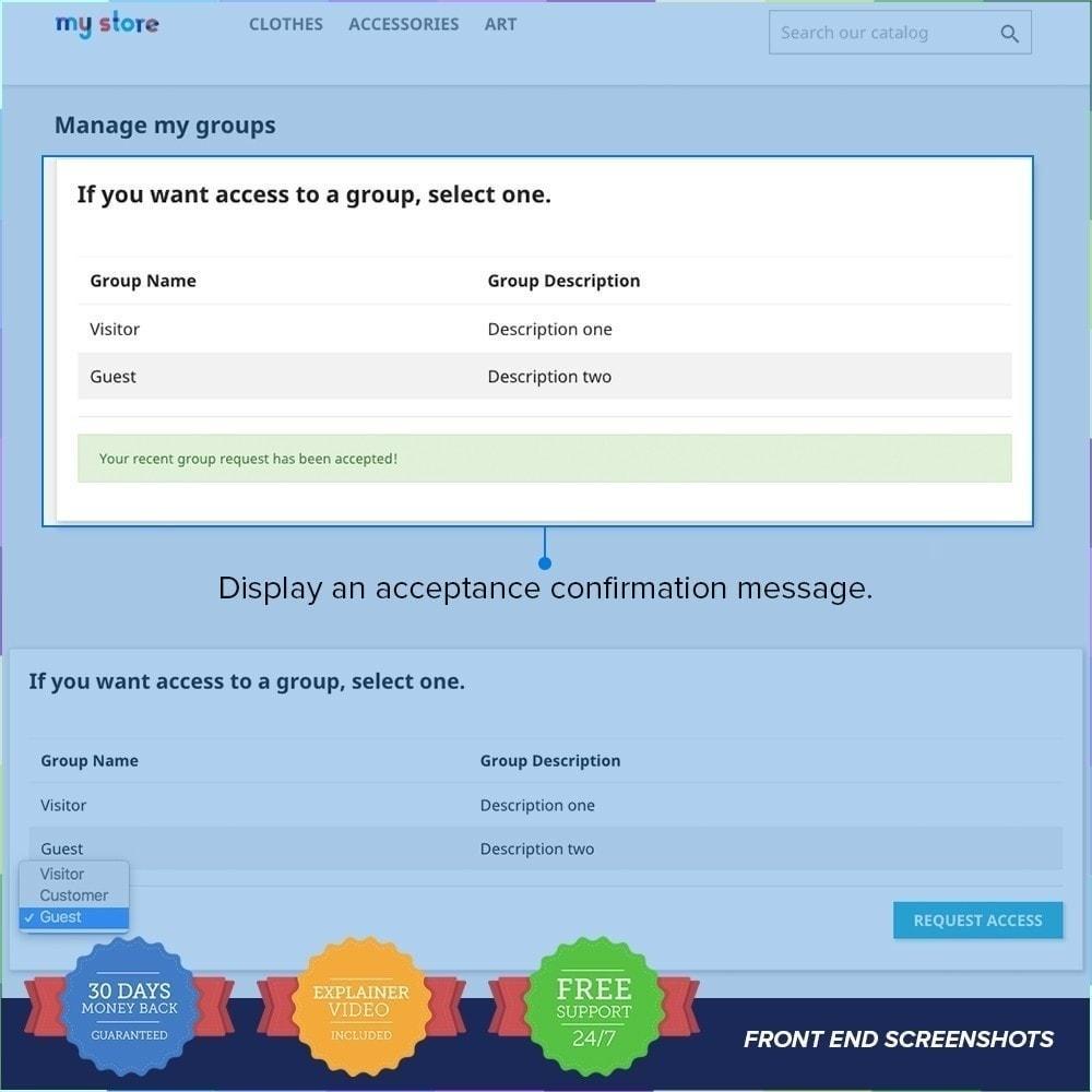module - Inscription & Processus de commande - Enregistrement de groupes de clients PRO - 6