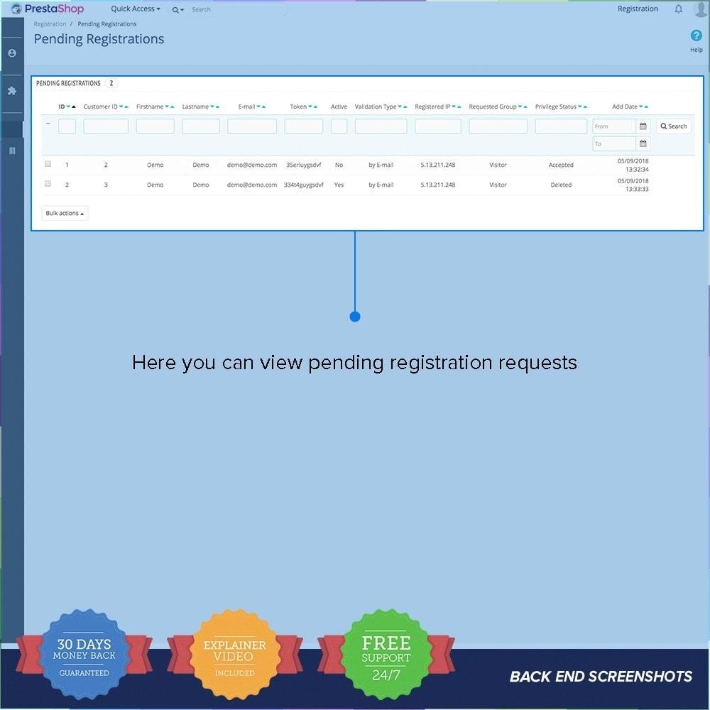 module - Inscription & Processus de commande - Enregistrement de groupes de clients PRO - 7
