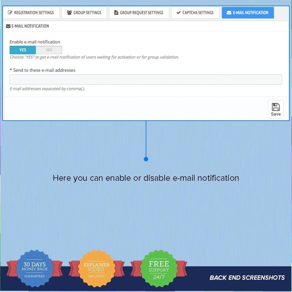 module - Inscription & Processus de commande - Enregistrement de groupes de clients PRO - 13