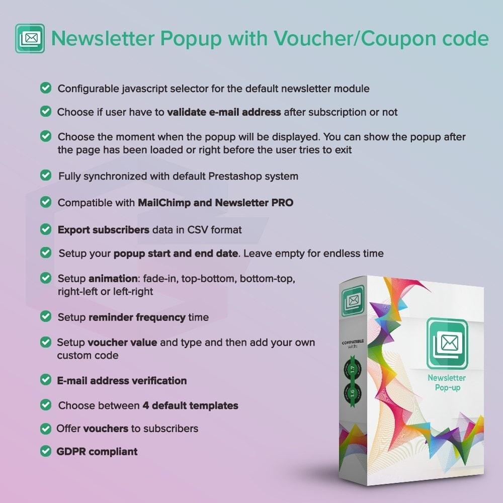 module - Newsletter & SMS - Newsletter Popup PRO mit einem Gutschein/Coupon Code - 1