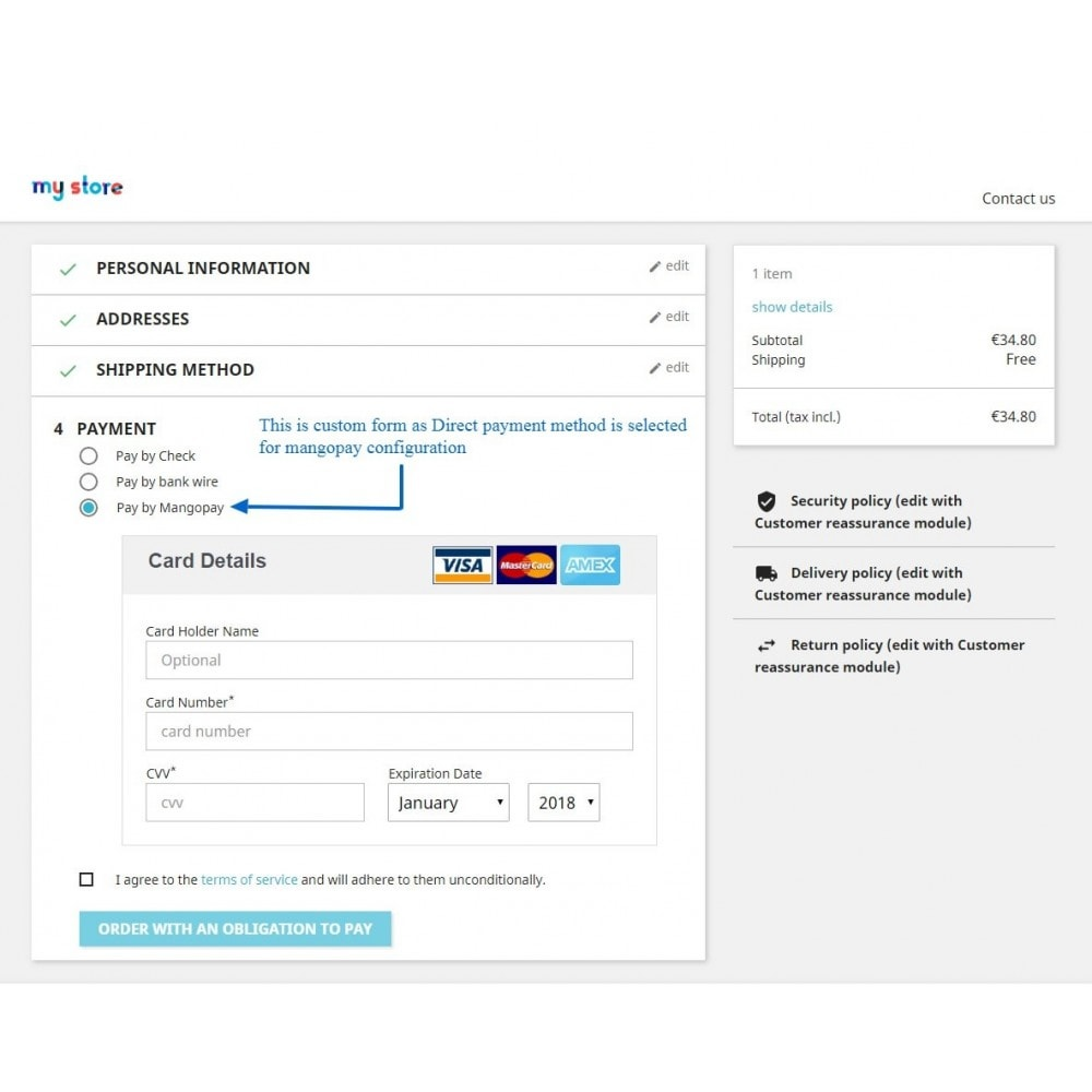 module - Pagamento por cartão ou por carteira - Mangopay Payment - 4