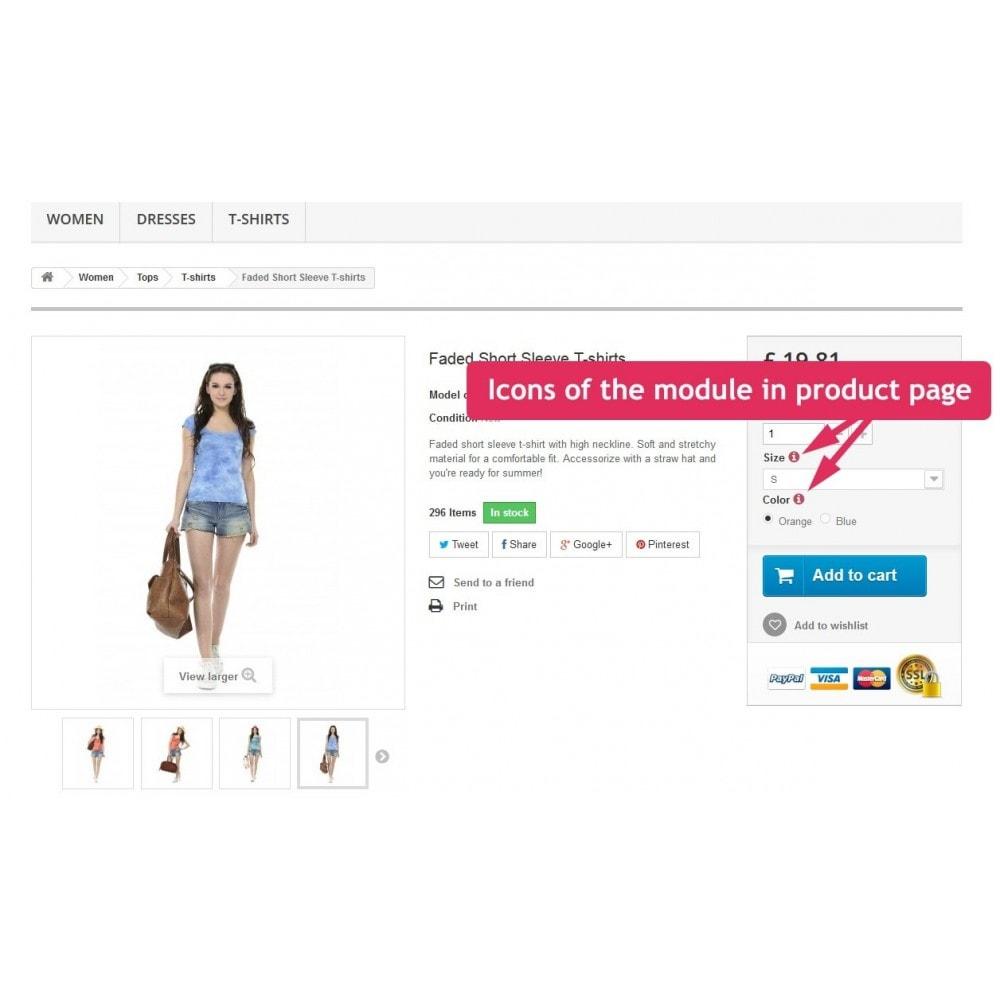 module - Combinaciones y Personalización de productos - Tooltips of attributes in product page - 5