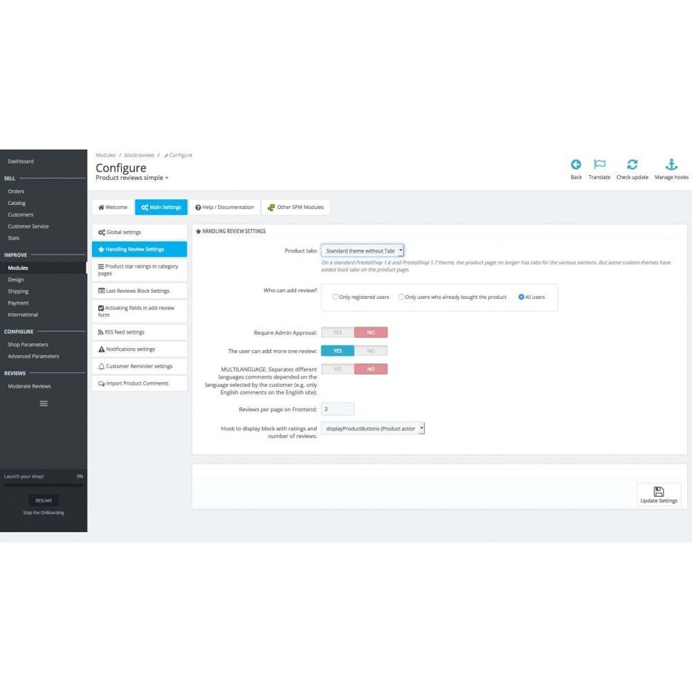 module - Comentarios de clientes - Product reviews simple + - 20