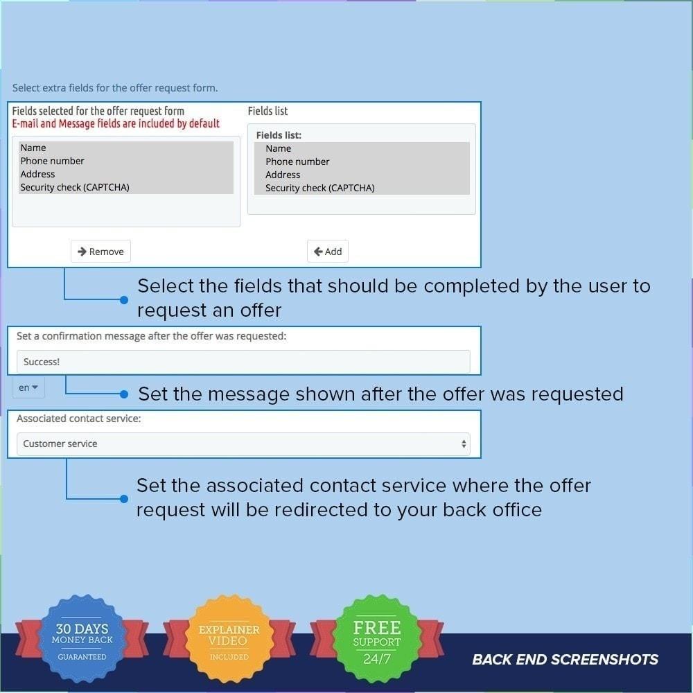 module - Information supplémentaire & Onglet produit - Demande d'offre / Devis PRO - 2