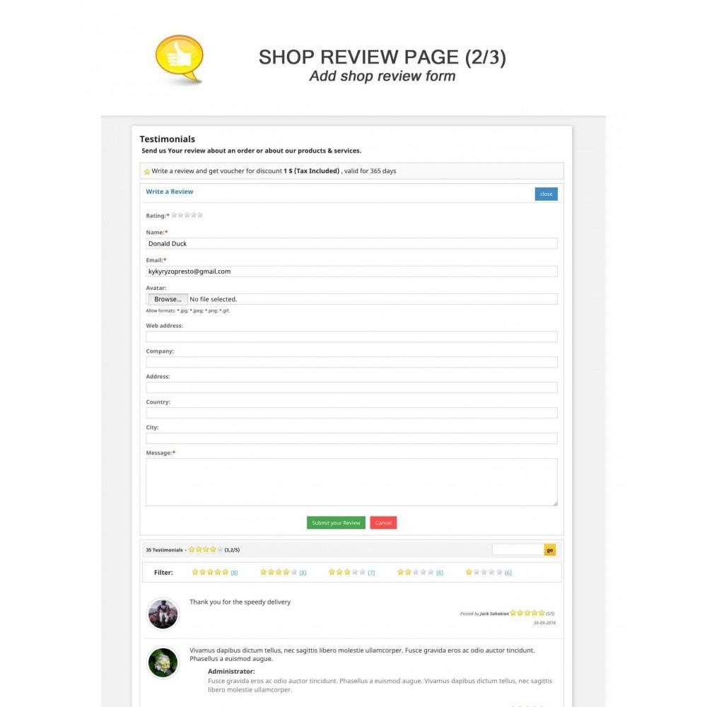 module - Comentarios de clientes - Shop Reviews + Avatars + Reminder + Rich Snippets - 2