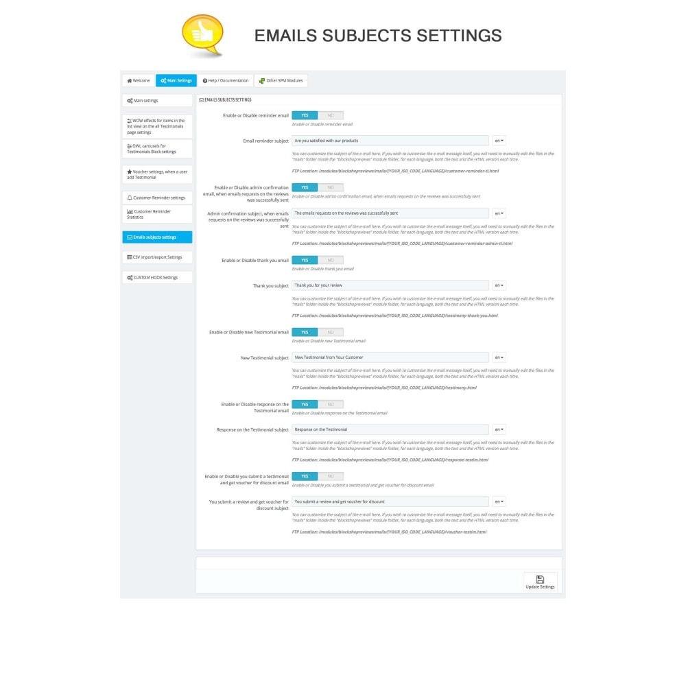 module - Comentarios de clientes - Shop Reviews + Avatars + Reminder + Rich Snippets - 14