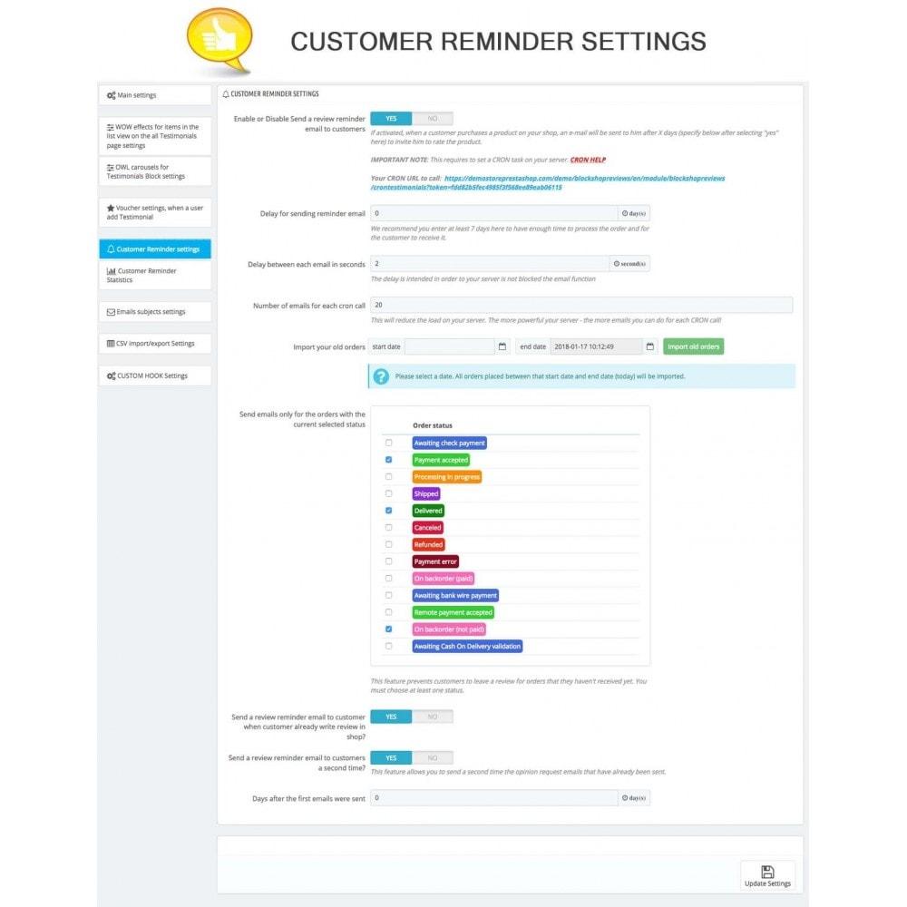 module - Comentarios de clientes - Shop Reviews + Avatars + Reminder + Rich Snippets - 15