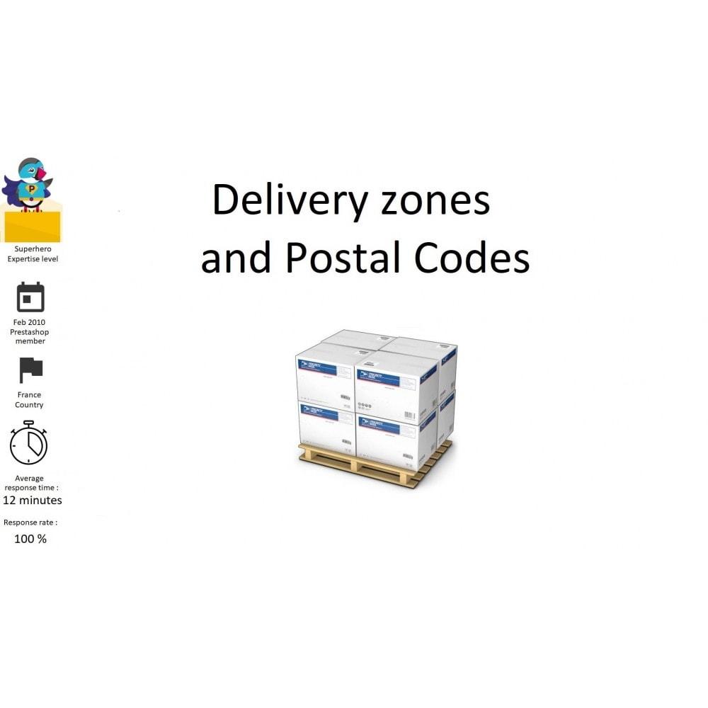 module - Gastos de transporte - Delivery zones and Postal Codes, departments, regions - 1