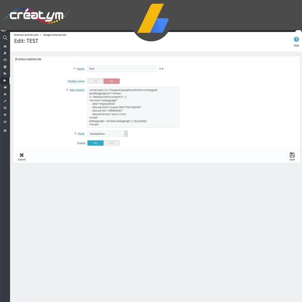 module - Betaalde vermelding & Lidmaatschap - Google Adsense Ads - 4