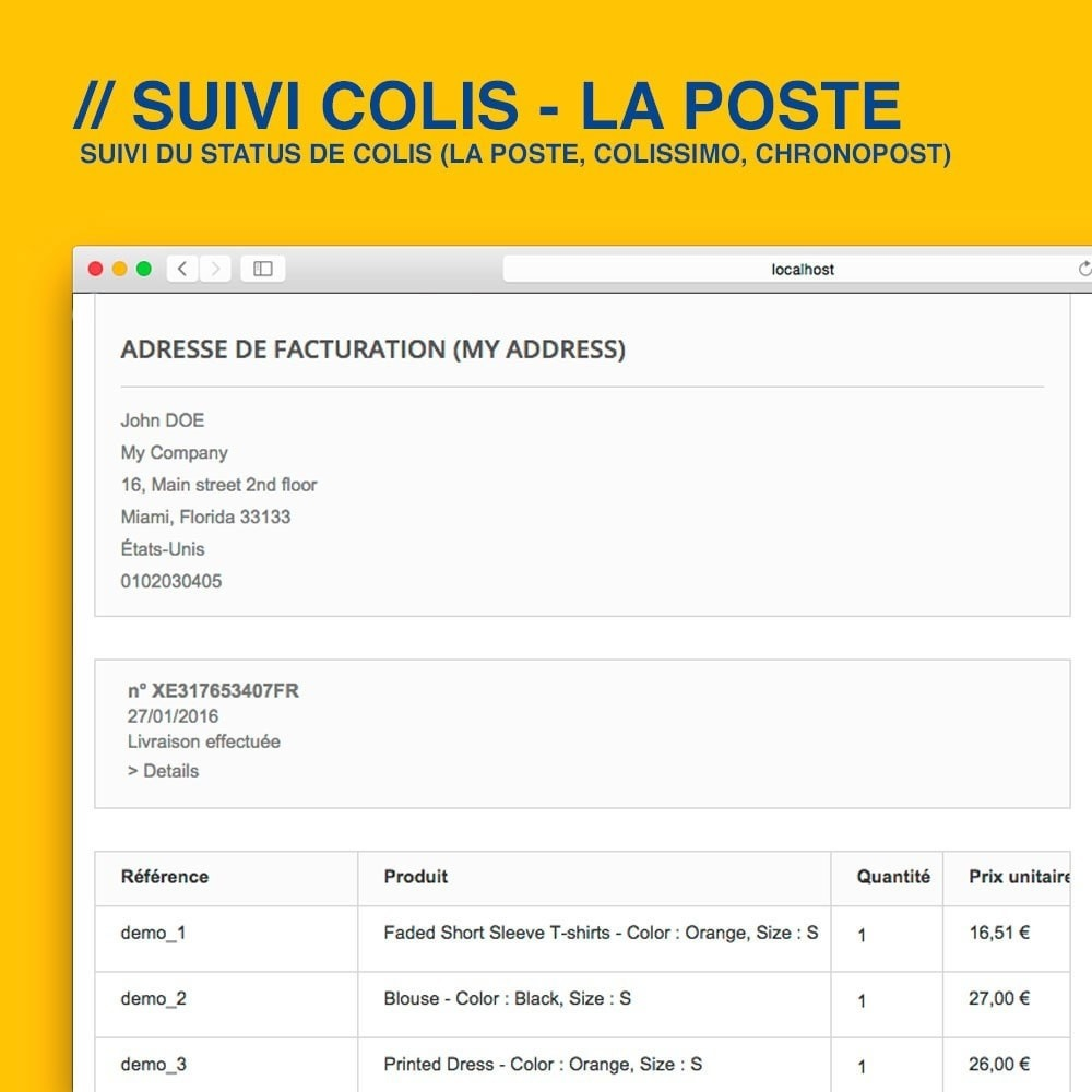 module - Suivi de livraison - Suivi La Poste, Colissimo & Chronopost - 4