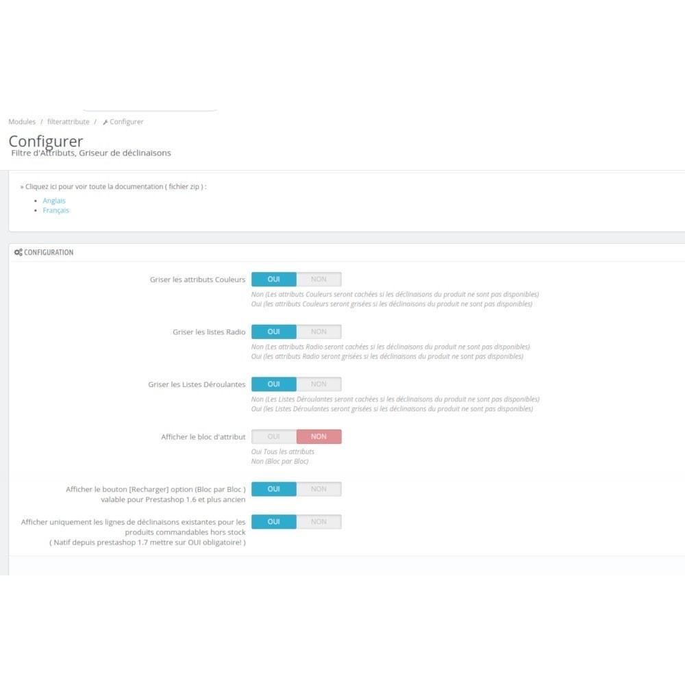 module - Déclinaisons & Personnalisation de produits - Filterattribute - déclinaisons et attributs en Stock - 3