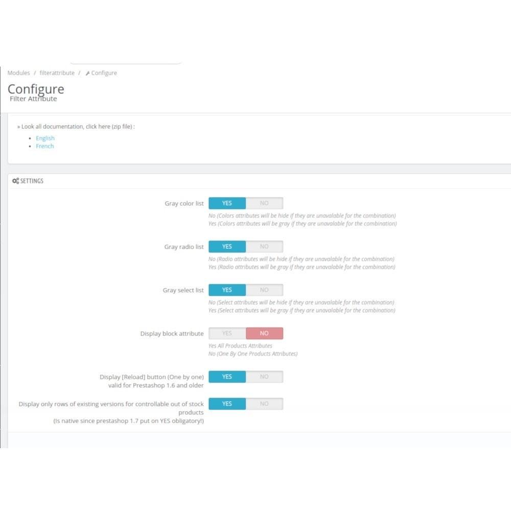 module - Combinaciones y Personalización de productos - Filterattribute - Declination and Attribute in Stock - 3
