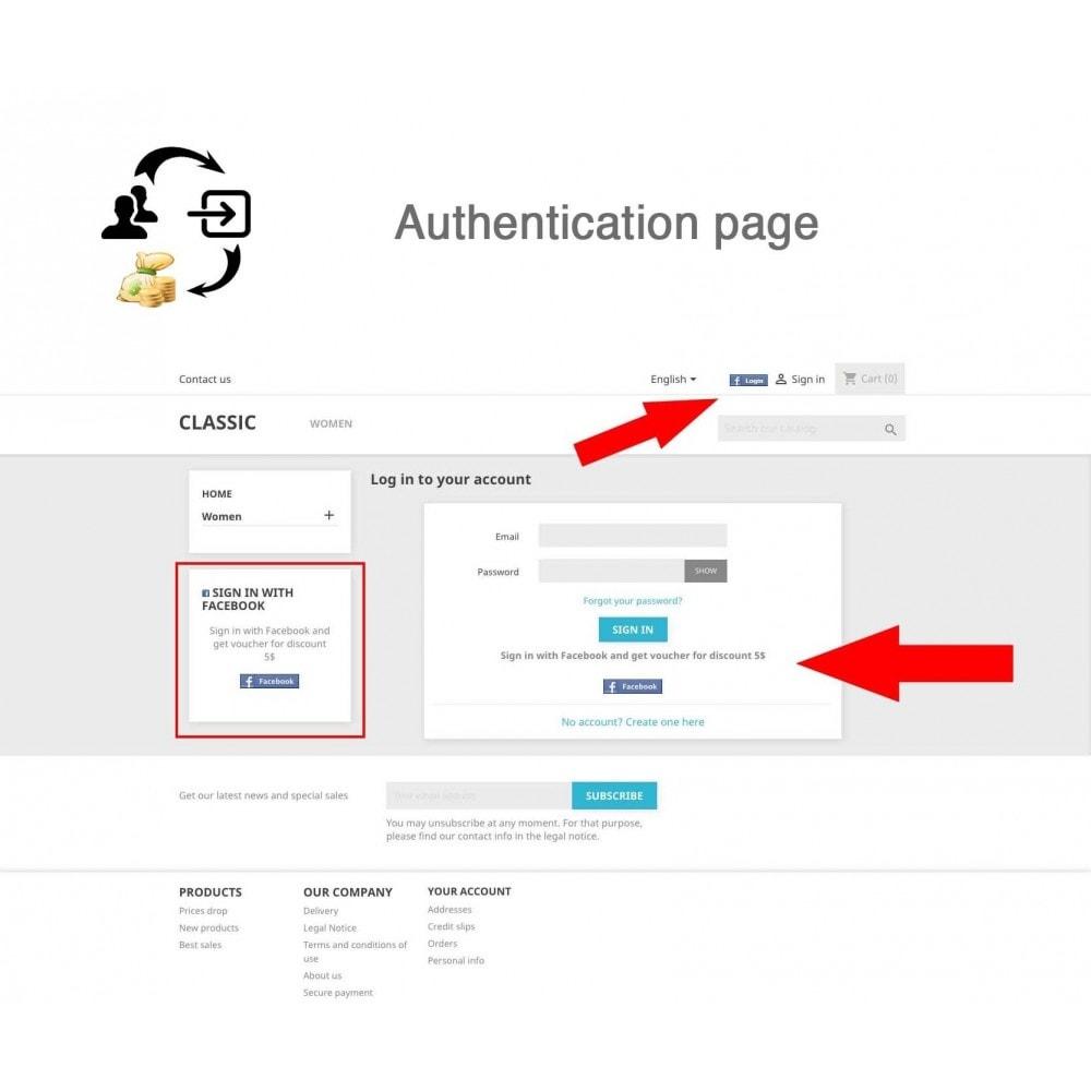 module - Boutons Login & Connect - Social Connecter + Coupon pour inscription - 1