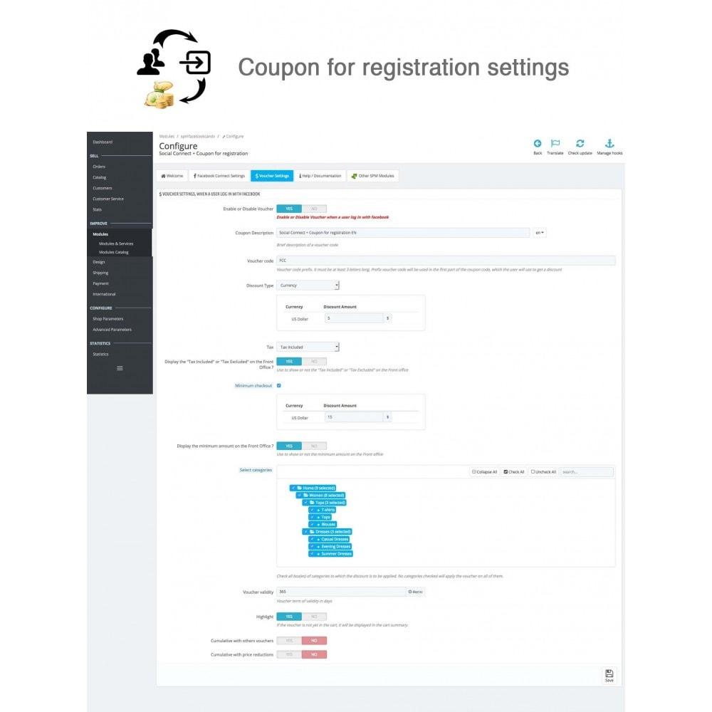 module - Boutons Login & Connect - Social Connecter + Coupon pour inscription - 14
