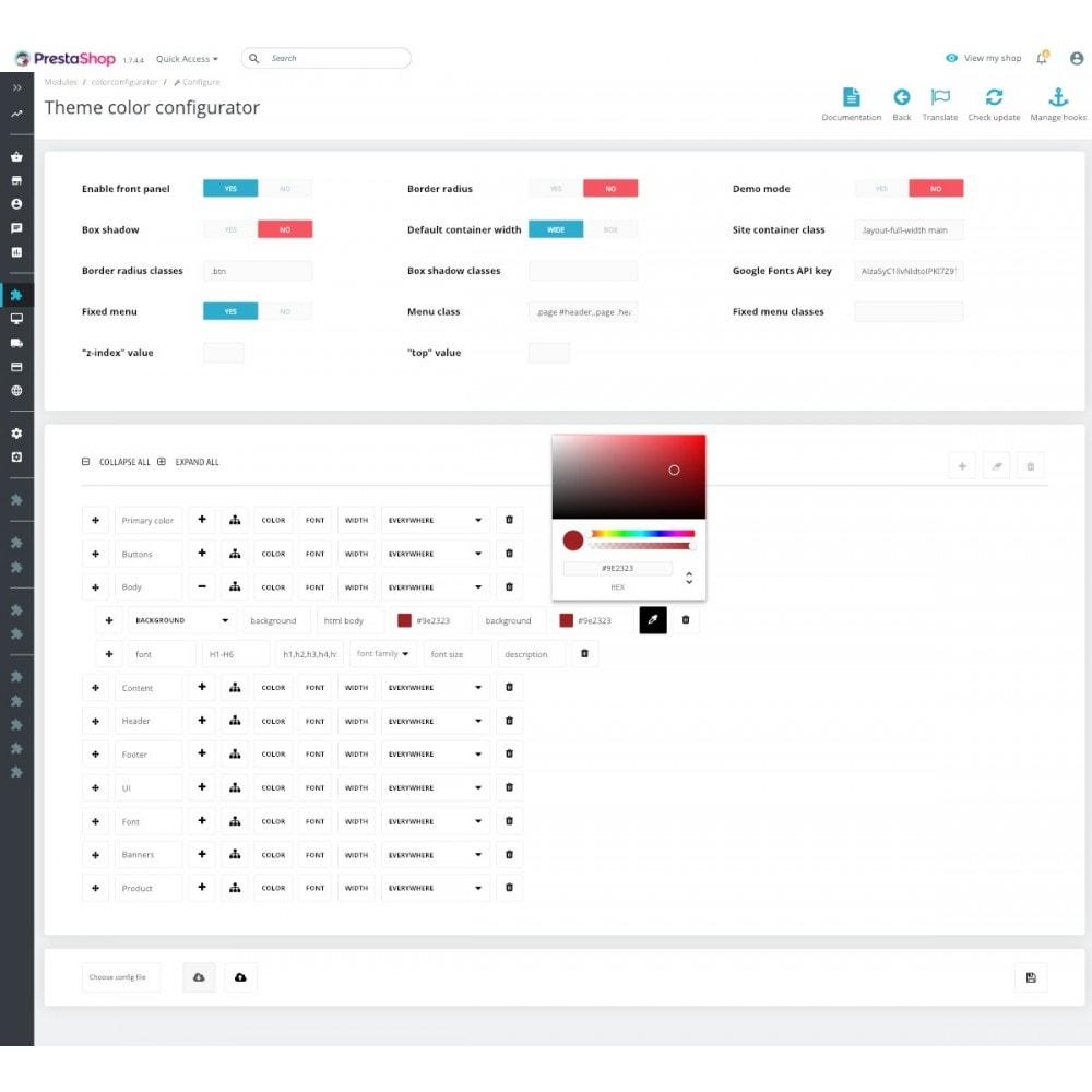 module - Personnalisation de Page - Colors and Fonts Theme Configurator - 3