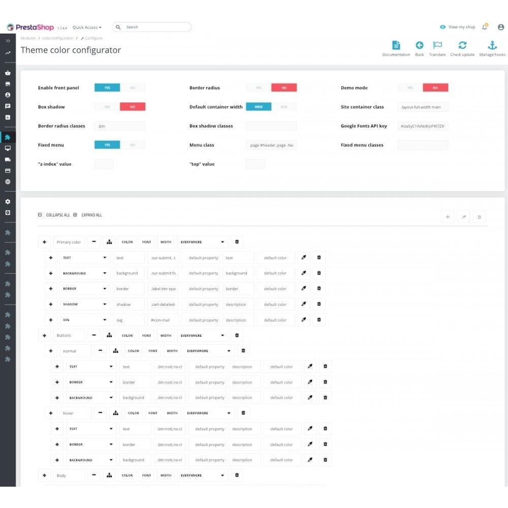 module - Personnalisation de Page - Colors and Fonts Theme Configurator - 5