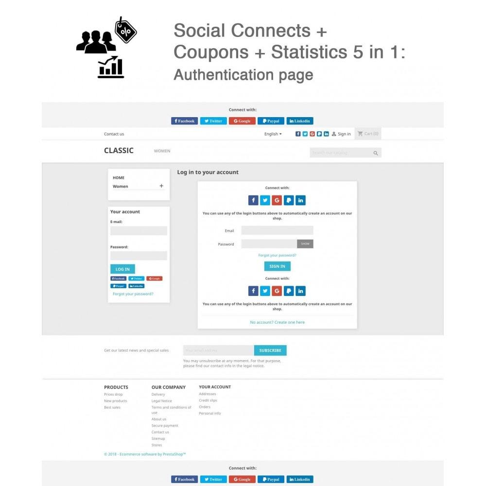 module - Bons de réduction sur les réseaux sociaux - Social Login - Paypal, Google, Twitter, LinkedIn, ... - 1