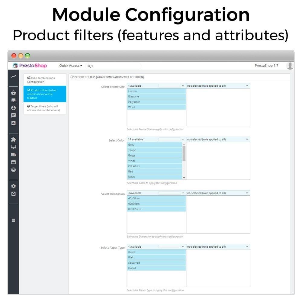 module - Combinaciones y Personalización de productos - Ocultar o mostrar atributos y combinaciones - 3