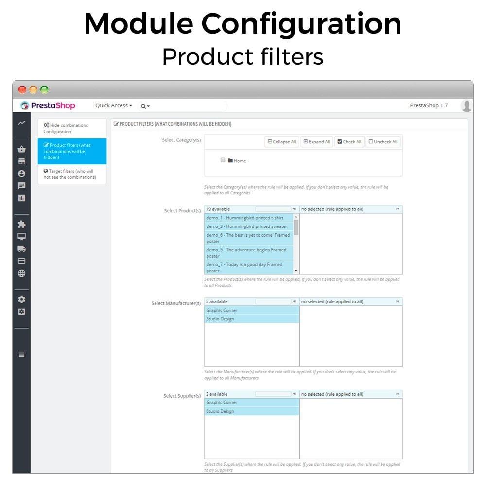 module - Combinaciones y Personalización de productos - Ocultar o mostrar atributos y combinaciones - 5