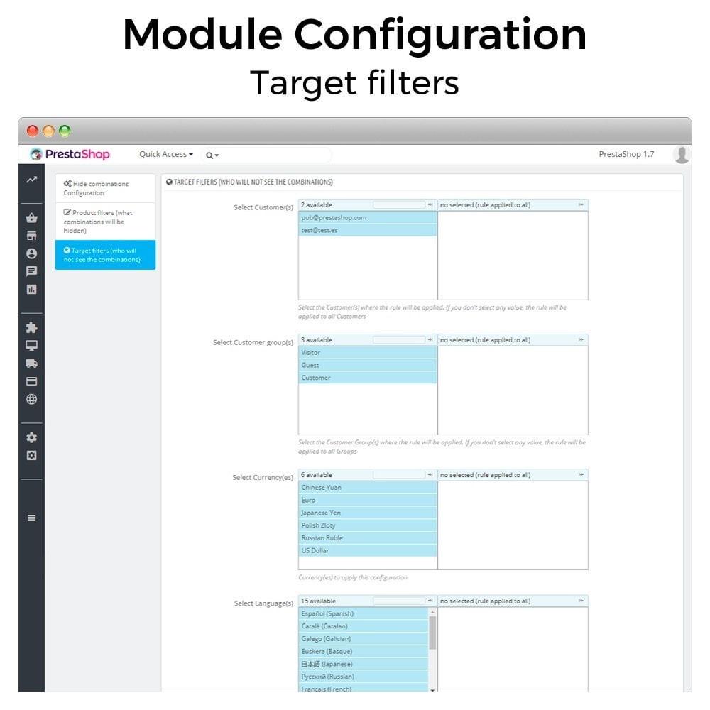 module - Combinaciones y Personalización de productos - Ocultar o mostrar atributos y combinaciones - 6
